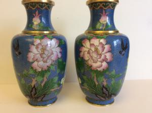 Vintage Pair Of Cloisonne Enamel Flower Vases Left Right Identical Design Or Some Called Duet Manufactured In Jing Fa Beijing Factory That