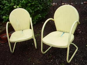 2 Vintage Yellow Motel Chairs Forever Always Collectibles